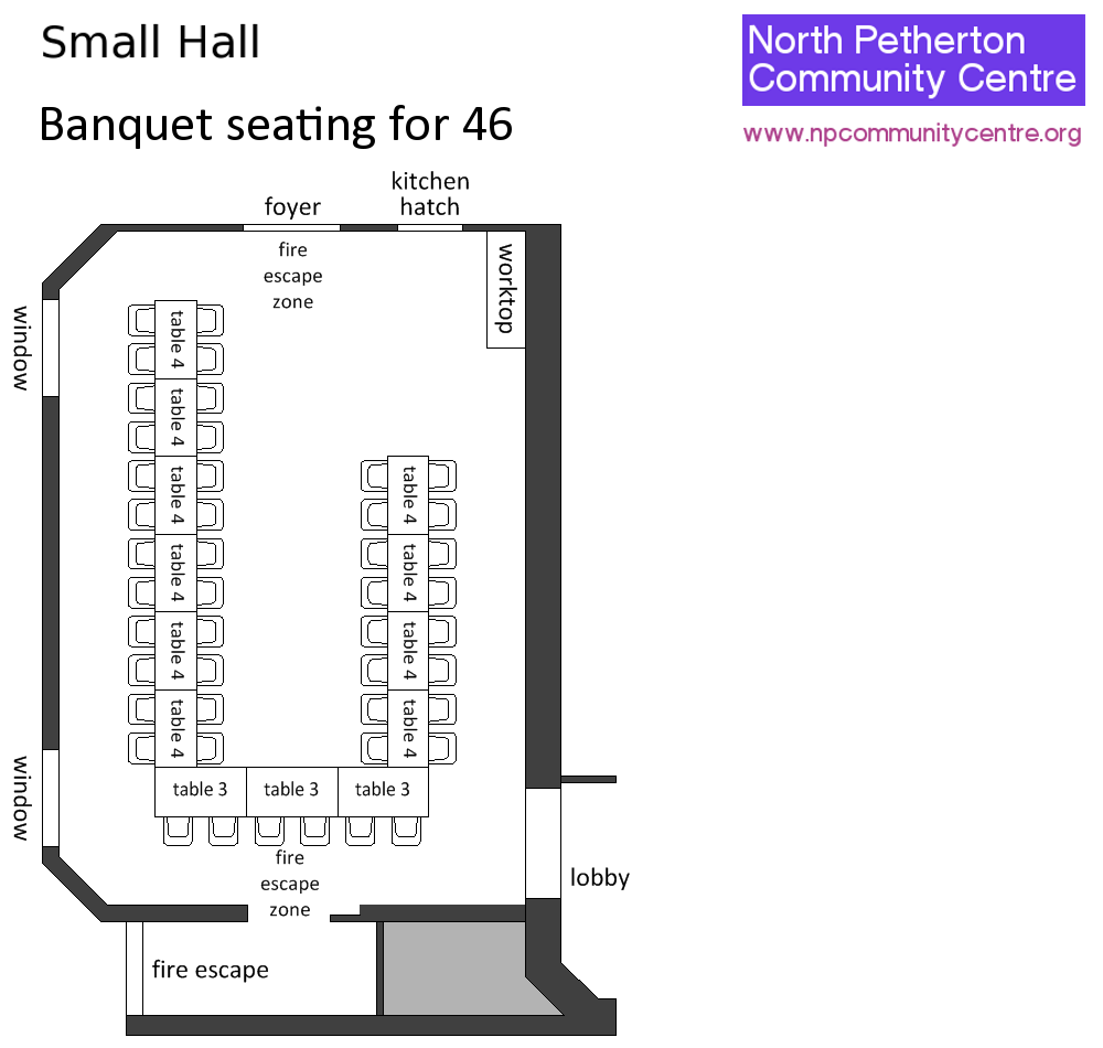 North petherton community centre small hall layouts and for Banquet hall designs layout