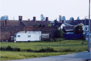 The Community Centre Shop — a converted caravan — on the site in 1984