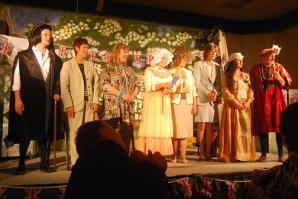 Actors on stage in North Petherton Community Centre